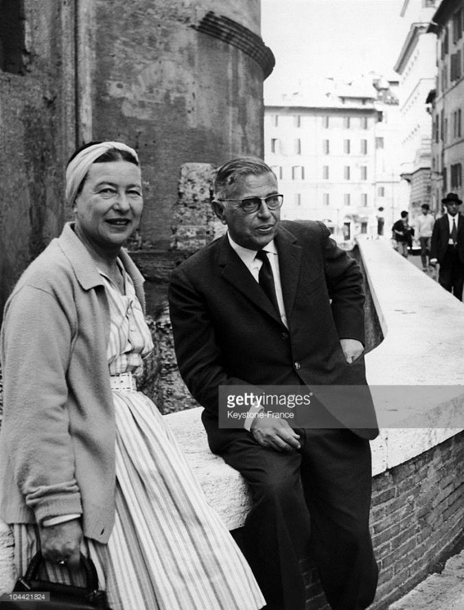 Simone De Beauvoir e Jean-Paul Sartre a Roma il 22 ottobre 1963.