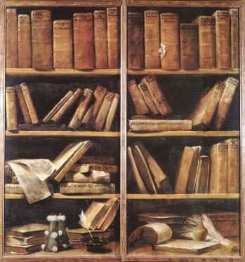 Trompe l'oeil che rappresenta le ante di una libreria appartenuta a Padre Giambattista Martini. Museo internazionale e biblioteca della musica di Bologna
